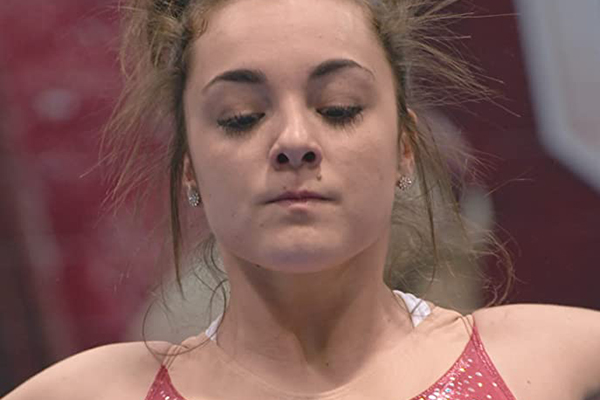Close up of gymnast's face.