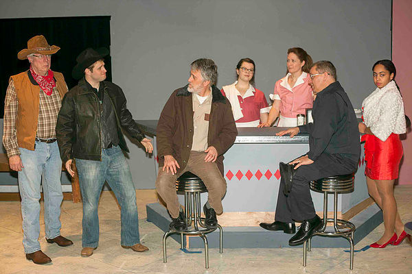 "The cast of ""Bus Stop' at Clayton Community Theatre, Photo by John Lamb"