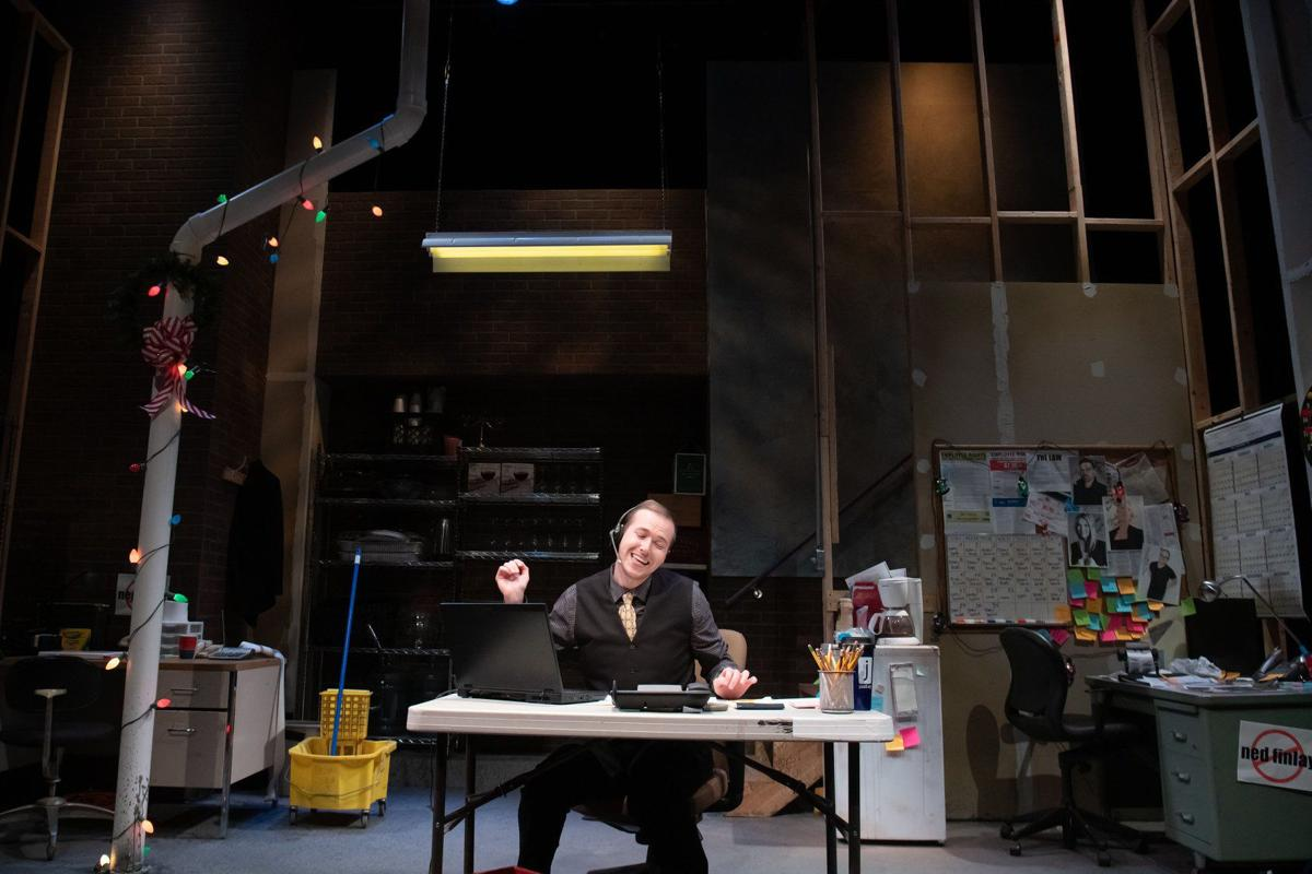 A scene from New Jewish Theatre's 'Fully Committed' starring Will Bonfiglio, Photos courtesy of Jon Gitchoff
