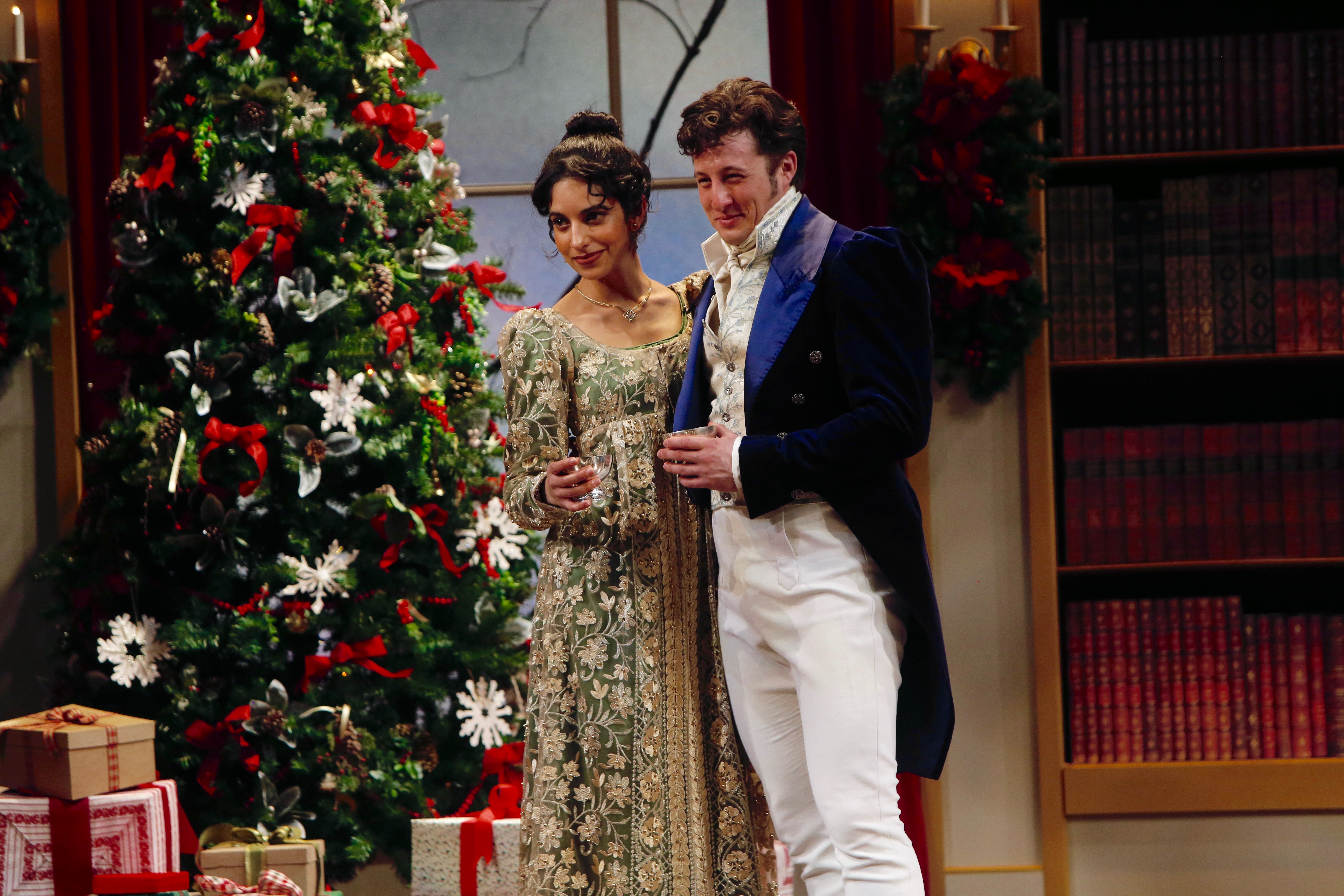 Harveen Sandhu and Rhett Aren Guter in 'Miss Bennet: Christmas at Pemberley' at The Rep. Photo by Jerry Naunheim, Jr.