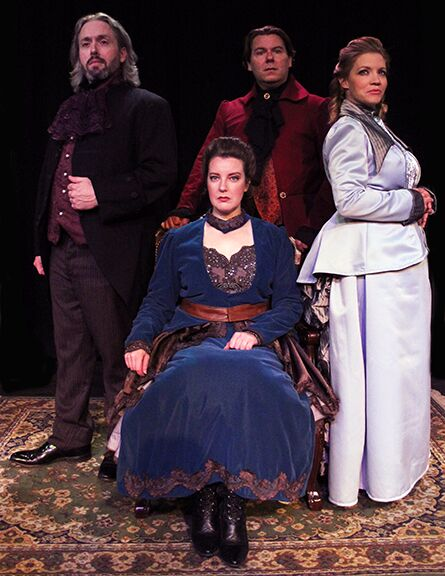 "Ben Ritchie, Nicole Angeli, Stephen Peirick, and Rachel Hanks in ""Hedda Gabler"" at Stray Dog Theatre, Photo by Justin Been"