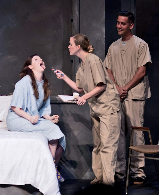'The Gettier Problem' by Michael Long, Directed by Wendy Greenwood, (l to r) Colleen Backer, Erin Brewer and Spencer Sickmann, Photo by Justin Foizey