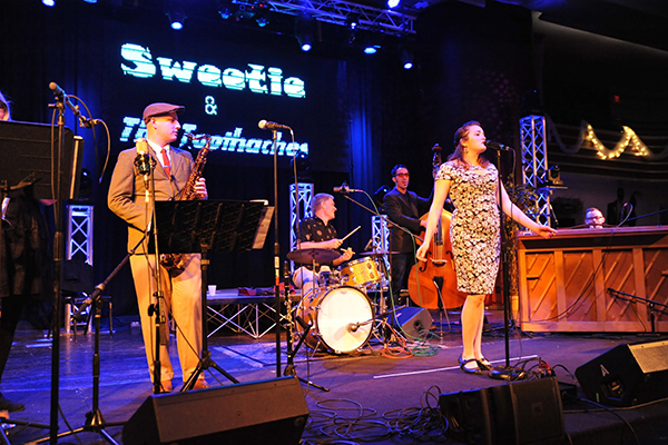 Sweetie and the Toothaches playing music at the historic Casa Loma Ballroom