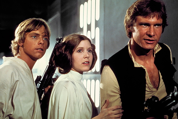 Mark Hamill, Carrie Fisher, and Harrison Ford in Star Wars