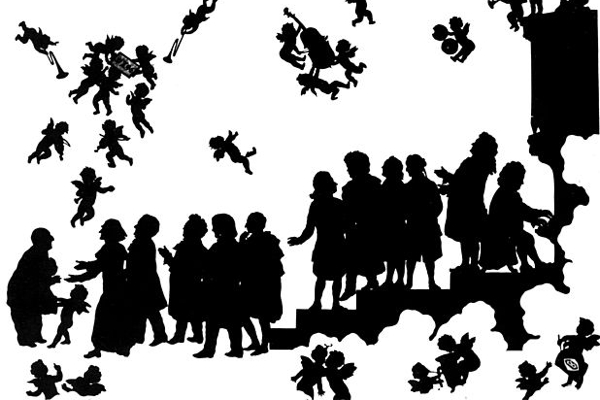 Silhouette drawing of Bruckner in heaven