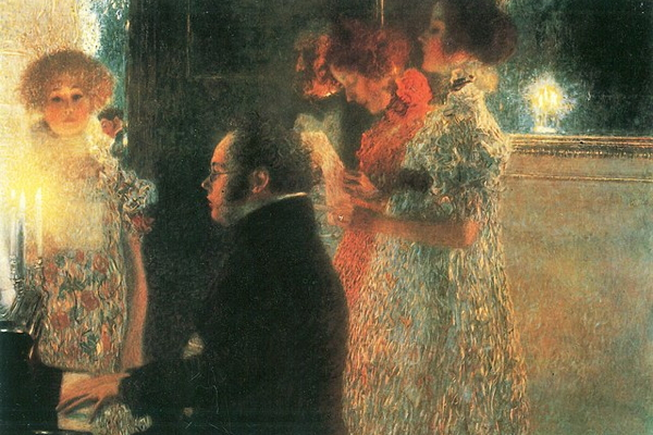 Schubert at the Piano by Gustav Klimt (1899). Public Domain.