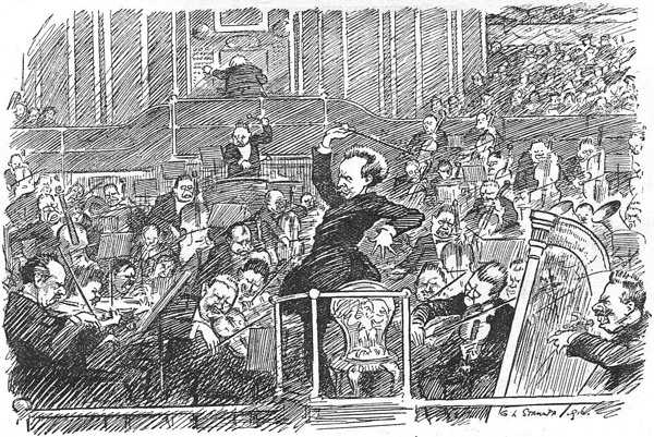 1916 newspaper cartoon of Richard Strauss conducting from commons.wikimedia.org