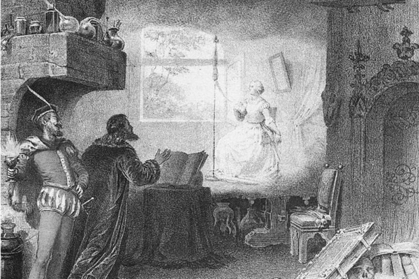 Mephistopheles shows Faust Marguerite at her spinning wheel.
