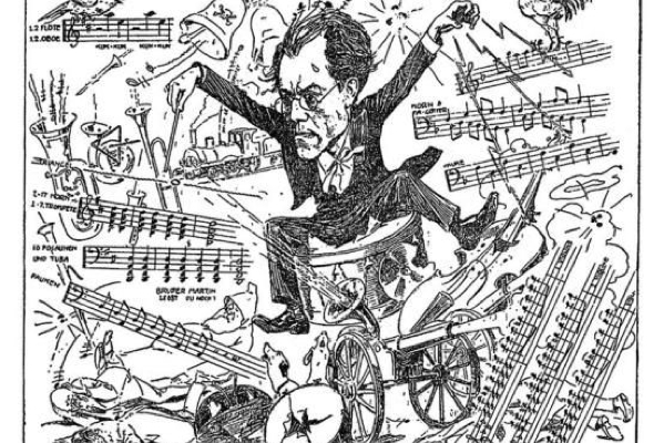 Contemporary characterture of Mahler conducting his Symphony No. 1