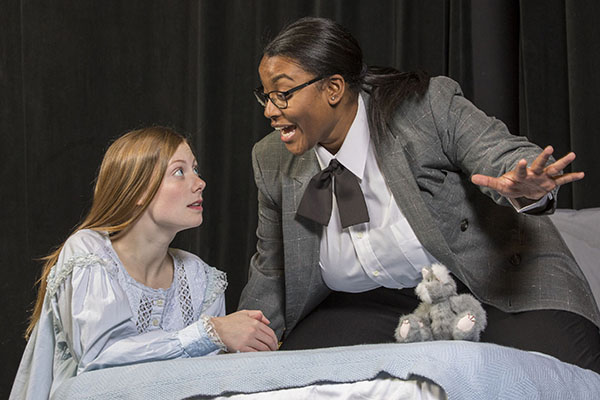 Emma Flannery as Lemon (left) and Ebby Offord as Aunt Dan. (Photo: Joe Angeles/Washington University)