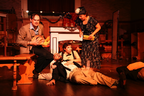 Phil Leveling, Brian Kappler, Rebecca Loughridge and Kelly Schnider in 'The 39 Steps'
