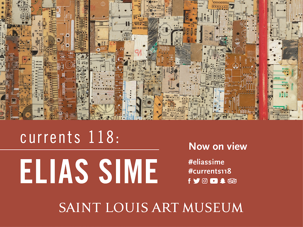 Ad featuring the art work of Elias Sime. Currents 118: Elias Sime. Now on view. Saint Louis Art Museum