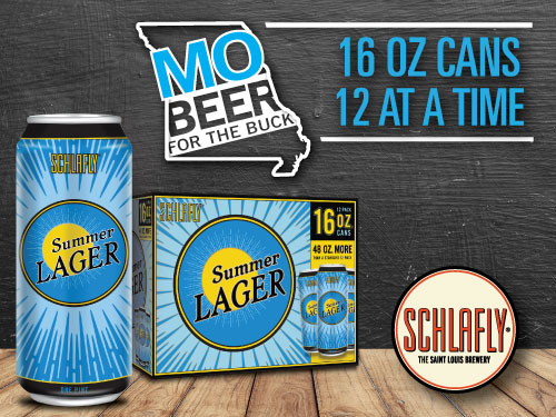 Schlafly Summer Lager 16 ounce beer cans in a 12 pack