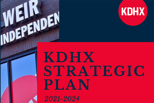 Close-up of the cover of the KDHX Strategic Plan 2021-2024.