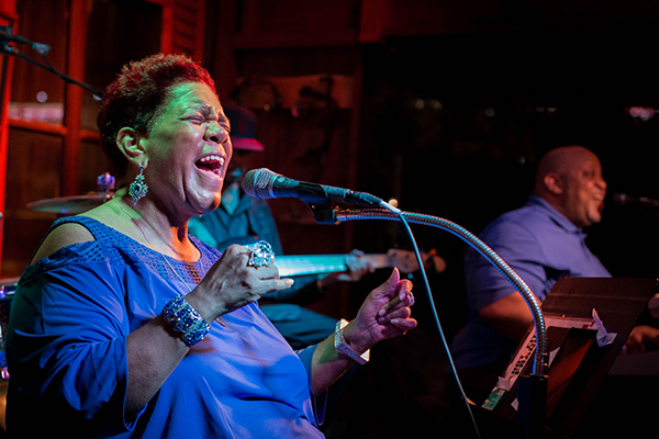 Kim Massie performed at Beale on Broadway on August 16, 2016. Photo by Monica Mileur.